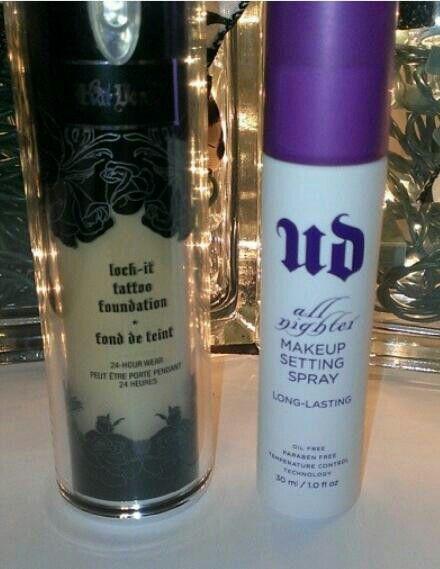 For all night Kat Von D lock it foundation & Urban Decay all nighter setting spray.