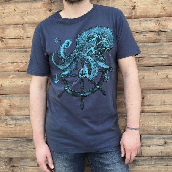 Octopus t-shirt for men. Sailor style handmade design. Screenprinting on cotton tee for HIM. Color denim blue vintage style.