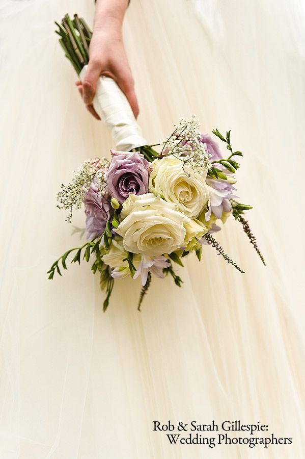 bridal bouquet in cream and lilac by www.passionforflowers.net. #roses. #lilac #ivory