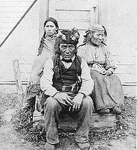 Dane-zaa (Beaver) chief and family, Peace River area Alberta, 1899. The Dane-zaa (ᑕᓀᖚ, also spelled Dunneza, or Tsattine, and historically often referred to as the Beaver tribe by Europeans) are a First Nation of the large Athapaskan language group; their traditional territory is around the Peace River of the provinces of Alberta and British Columbia, Canada.
