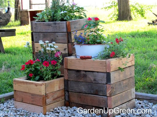 garden up green diy reclaimed wood planter boxes - Patio Flower Ideas