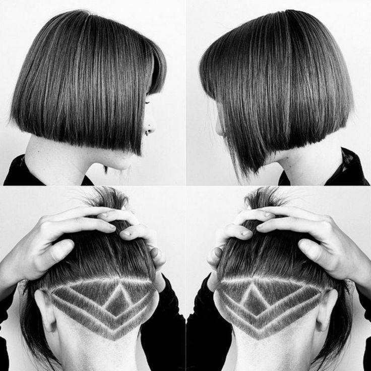 undercut frisuren kurze haare geometrisch muster rasieren - Undercut Nacken Muster
