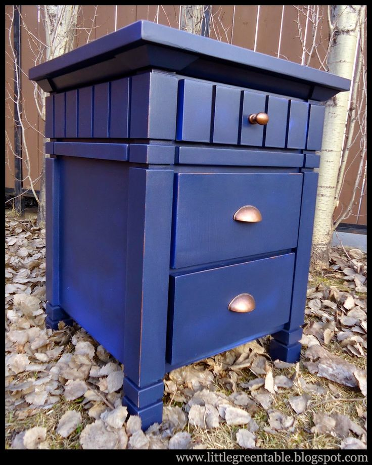 Navy Blue End Table...Redesigned By Little Green Table