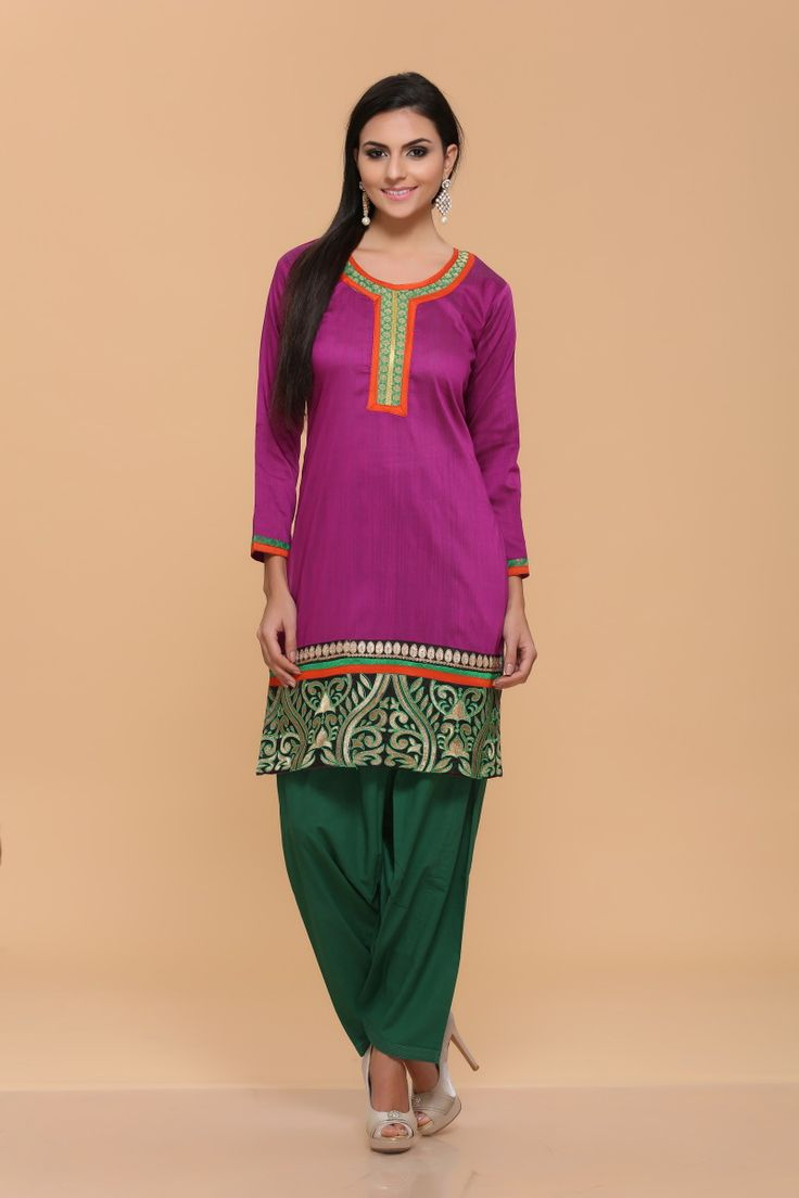 Rani Silky Cotton Slub Kurti Price:-£16.95 Andaaz Fashion new arrival designer kurtis collection like Rani Silky Cotton Slub Kurti. This dress is embellished with Resham and Quarter Sleeve Kameez, Knee Length Kameez, Round Neck Kameez. This is prefect for Casual and Evening wear http://www.andaazfashion.co.uk/rani-silky-cotton-slub-kurti-4055.html