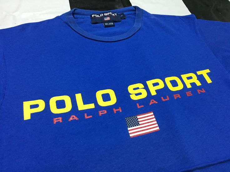 Vintage Polo sport t shirt spell out flag logo Size L Blue Polo sport ralph lauren by AlivevintageShop on Etsy