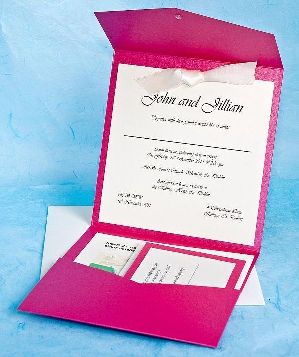 Stardream Pocketfold Fuschia Pink Invitation