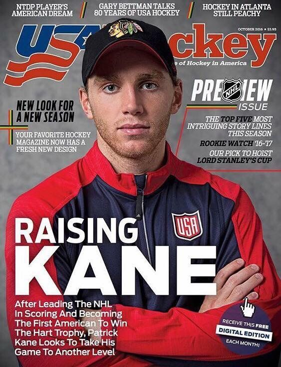 "Patrick Kane on the cover of ""US Hockey"" magazine"