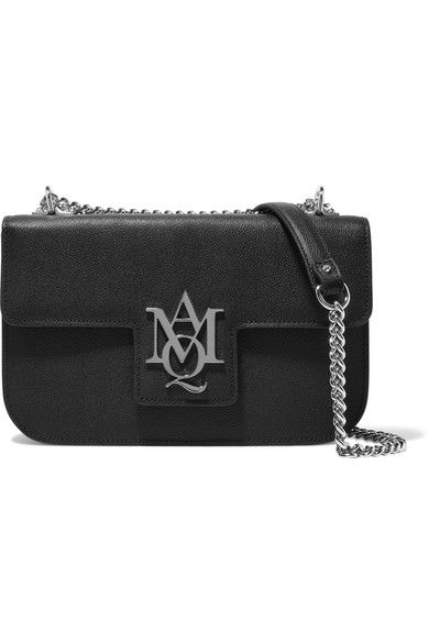 Alexander McQueen - Insignia Textured-leather Shoulder Bag - Black - one size