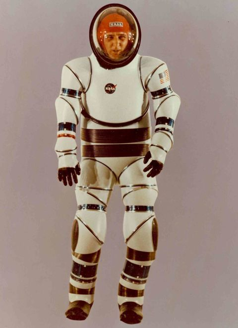AX Suit From 1966 through the 1990s, NASA Ames worked on a series of hard space suits designed for greater mobility. This is one of the earlier models, from 1966. That's inventor Vic Vykukal inside.