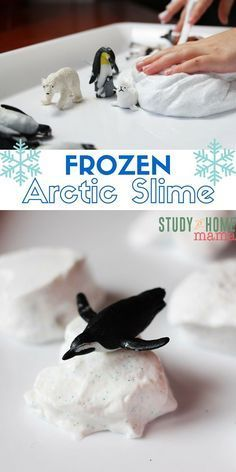 FROZEN Arctic Slime - two great sensory play materials in one! Make sparkly snow slime and then freeze it for a fun adventure in texture, temperature, and Arctic sensory play.