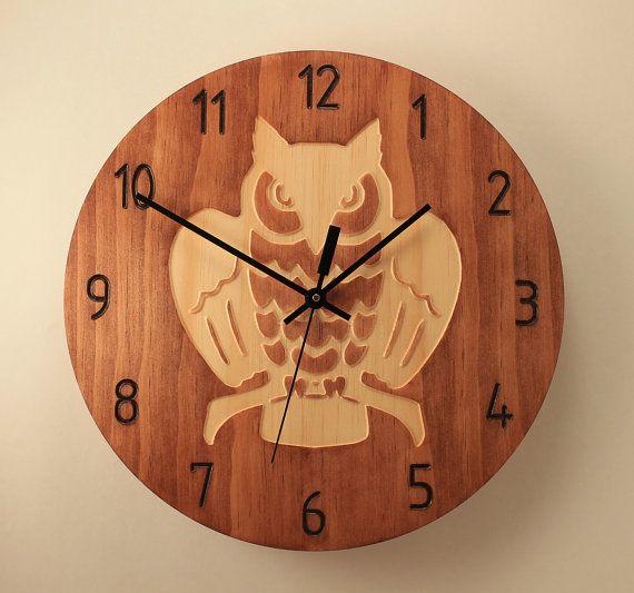 Owl clock Wood clock Wall clock Wooden wall by BunBunWoodworking