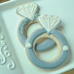 Engagement Ring Cookies. Like the added silver disco dust