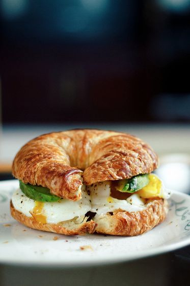 Egg Avocado Croissant Sandwich (No recipe. Easy to make without one.)