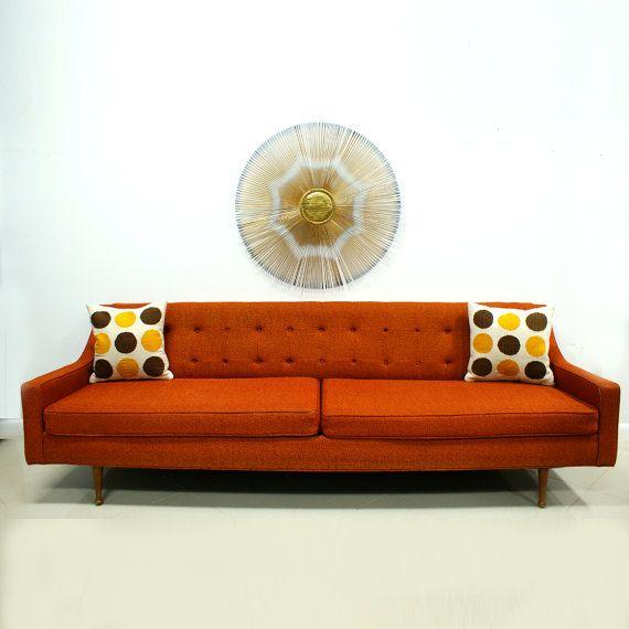 Orange Sofa Mid Century Modern  Free Shipping by TheModernHistoric, $1800.00