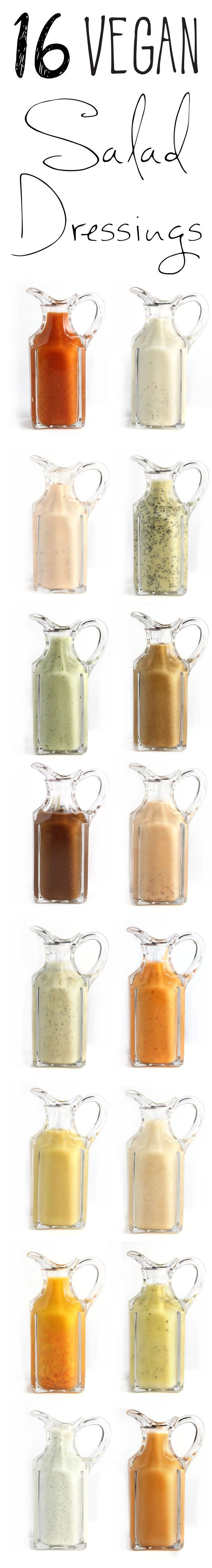 16 Vegan Salad Dressings!! All the classics made vegan, plus a few more great ideas #vegan