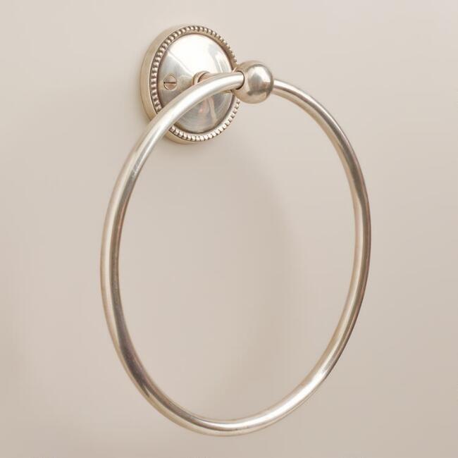Matte Silver Beaded Towel Ring
