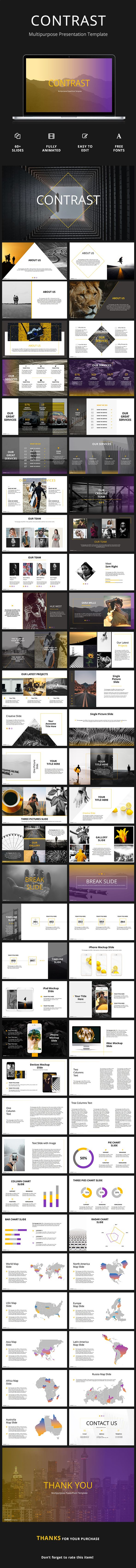 Contrast - Creative Powerpoint Template - #PowerPoint Templates Presentation Templates