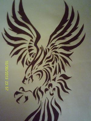 Tribal Phoenix Drawing
