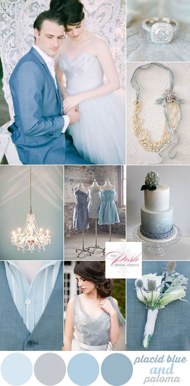 Pantones Placid blue and Paloma colors represented in a wedding inspiration board. Posh Bridal Lounge blog.
