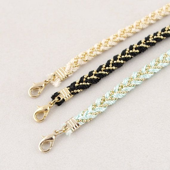 Braided Satin Thread with Ball Chain Bracelet by bkandjio on Etsy