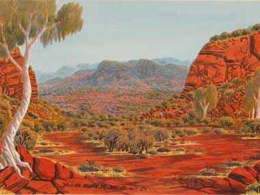 Elton Wirri Petermann Ranges 2008, Watercolour on acid free paperboard. The Legacy of Albert Namatjira Today. Douglas Kwarlple Abbott James Range. aboriginalartnews.com.au