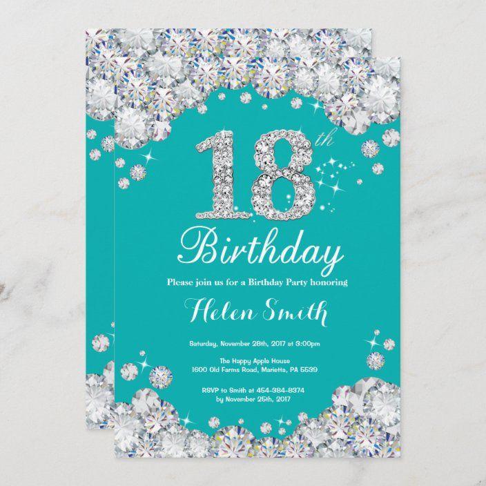 18th Birthday Invitation Teal And Silver Diamond Zazzle Com 21st Birthday Invitations Diamond Invitations 13th Birthday Invitations