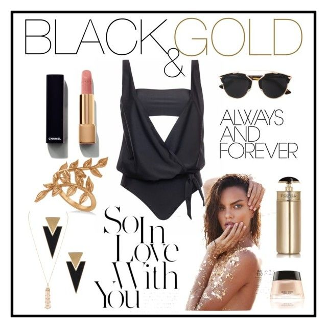 """PELSO // Black & Gold"" by pelso on Polyvore featuring Allurez, Yves Saint Laurent, Christian Dior, Chanel and Prada"