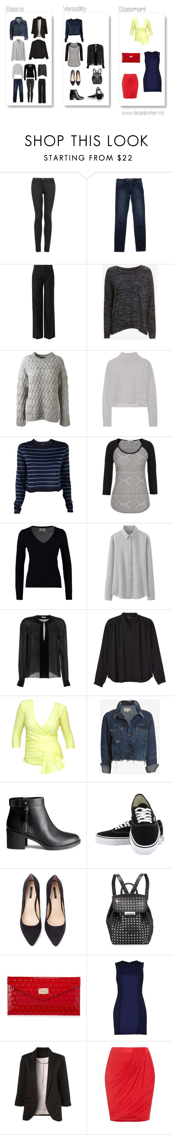 """Basic capsule wardrobe"" by fargeporten ❤ liked on Polyvore featuring Topshop, GUESS, Balenciaga, rag & bone/JEAN, The Row, Line, TIBI, maurices, FTC and Uniqlo"