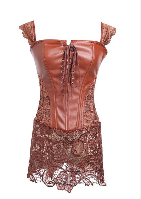 625b793886e16 S-6XL Plus Size Corset Black Faux Leather Lace Steampunk Corset Dress  Gothic Bustier Corset Sexy Corsets and Bustiers - Brown