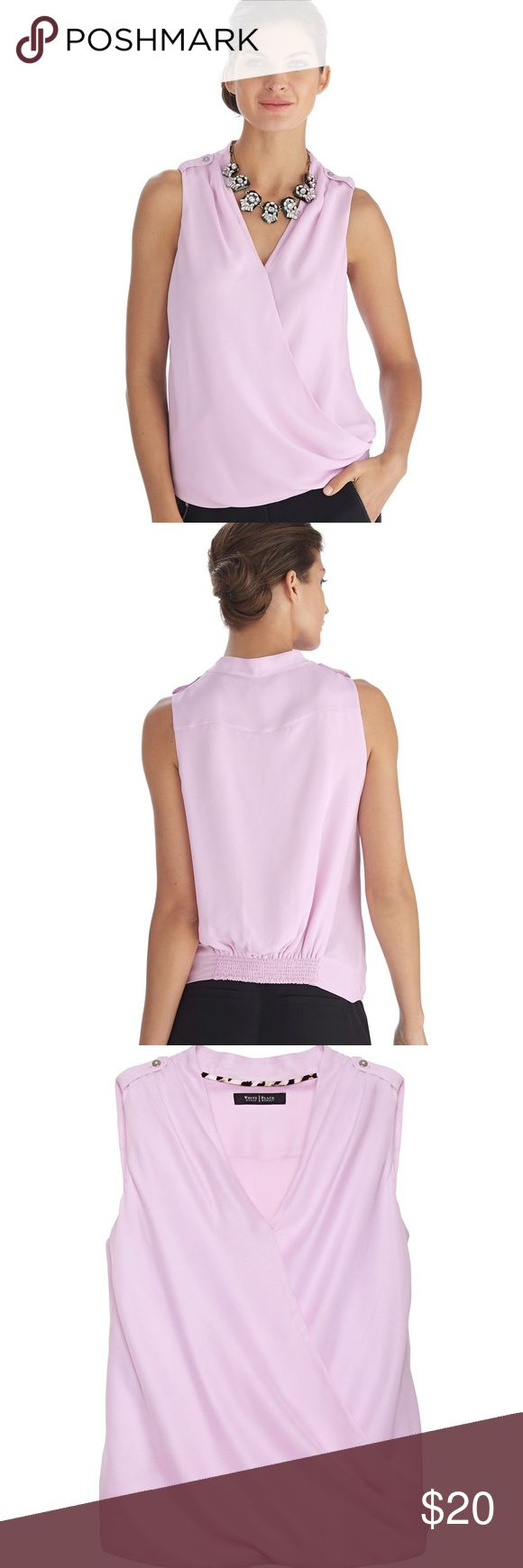 "White House Black Market Sleeveless Silk Blouse Silky soft blouse in a pastel hue exudes femininity. Wrapped surplice neckline and blouson fit flatters flawlessly. Blouson fit. Smocked back hem. Epaulettes at tops of shoulders with silvertone buttons. Wrapped surplice neckline with secure snap. Pleats from shoulders and at side hem. Fully lined. 100% silk. Hand wash, cold. Imported. Regular: Approximately 24"" in length and 21"" Armpit to Armpit. White House Black Market Tops Blouses"