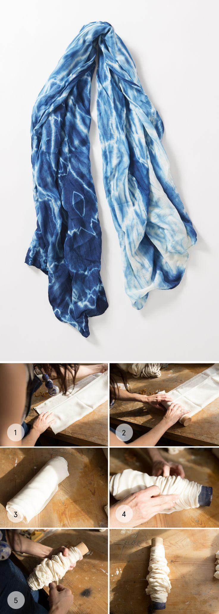 Arashi Shibori technique (wrap fabric around pole or tube) / how to use indigo dye kit