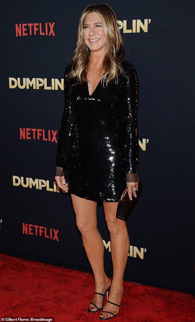 Jennifer Aniston Turns Heads In Black Sequins At Dumplin