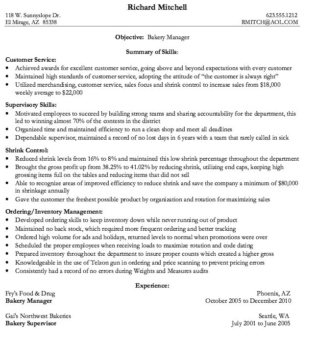 Bakery manager resume