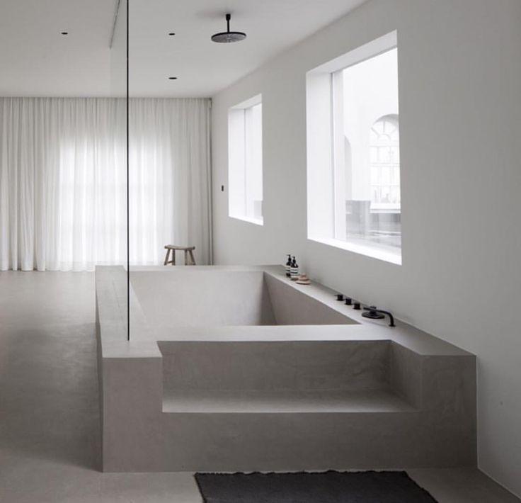 giant stone concrete bathtub bathroom