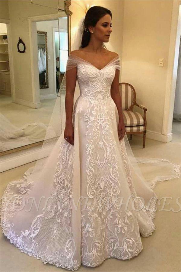 Glamorous Off Shoulder A Line Wedding Dresses Appliques Court Train Bridal Gowns In 2020 Disney Wedding Dresses Princess Wedding Dresses Lace Ball Gowns