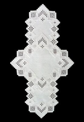 See the pretty Winter White Hardanger Table Runner at Nordic Needle
