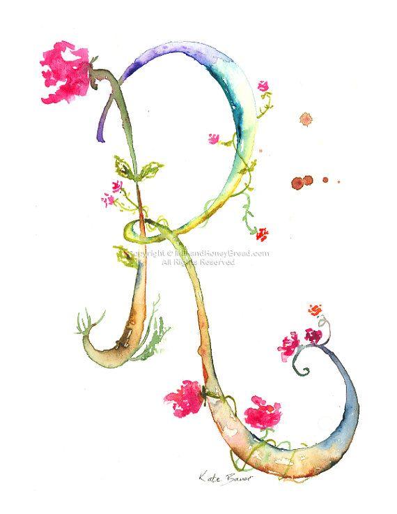 Lettera R acquerello monogramma fiore di MilkandHoneybread