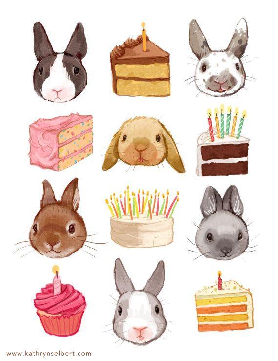 Fijn Art Print konijnen en verjaardag taart door kathrynselbert