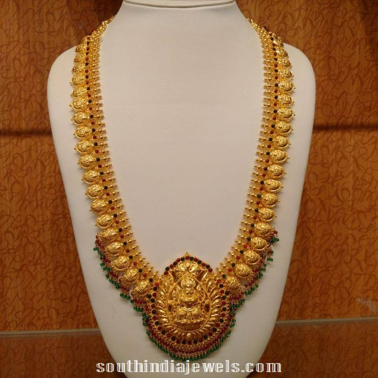 Gold Mango Haram with Lakshmi Pendant