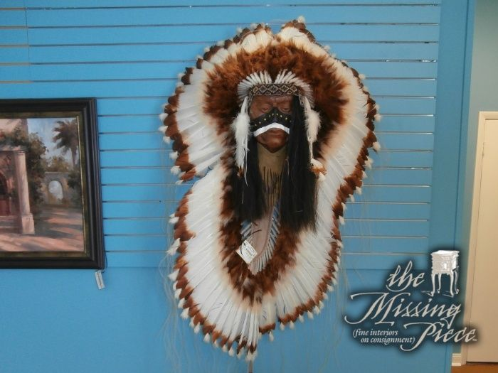 """Two heads are better than one. Unique Indian head dress measuring 65"""".  Hang it on a wall for a GREAT conversation piece."""