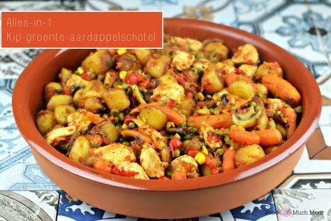 Alles in 1 pan gooien en dan lekker smullen van deze alles-in-1 kip-groente-aardappelschotel. Wel zo makkelijk.