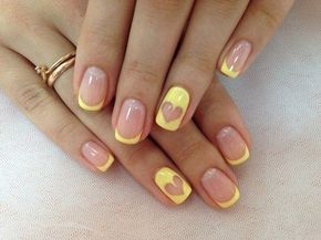 Color french manicure, Heart nail designs, June nails, Manicure by yellow dress, Manicure with a yellow gel polish, ring finger nails, Romantic nails, Summer nails 2016