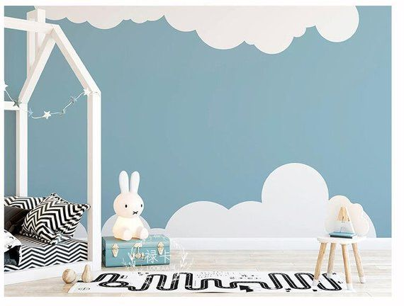 Lovely Simple Kids Nursery Clouds Wallpaper Wall Mural Two Lovely