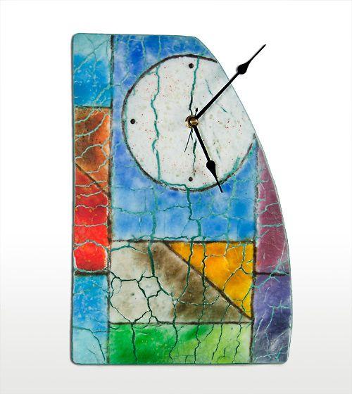 Fused Glass Clock by Nancy Cann   www.cellarart.com.