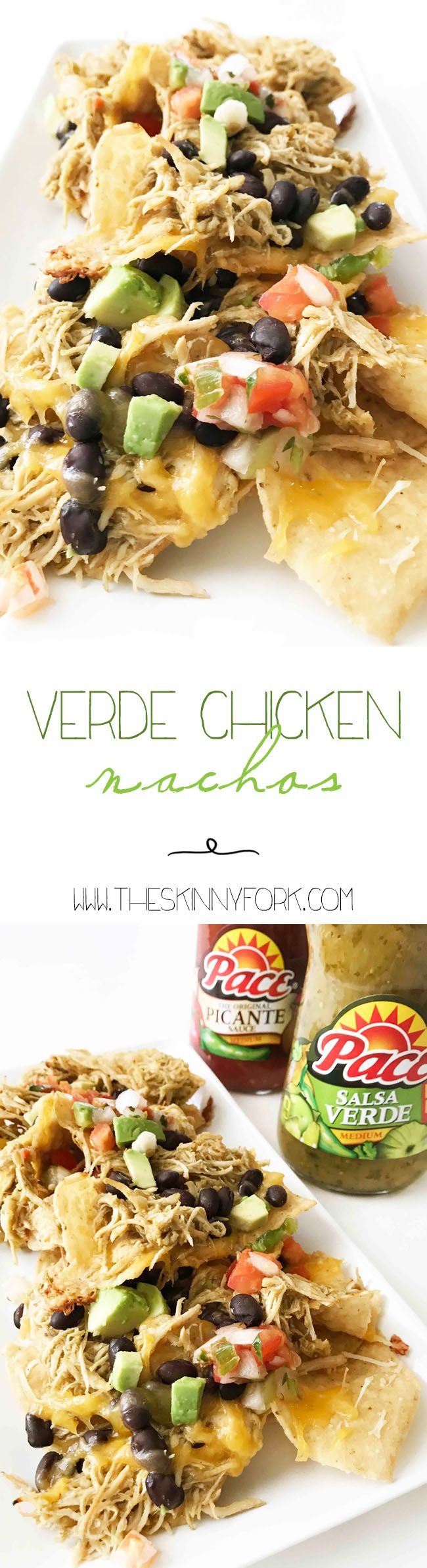 Football season means game day food! #MakeGameTimeSaucy with these Verde Chicken Nachos. They're quick, easy, and so good. Add them to your next game day spread and watch them disappear! #Ad TheSkinnyFork.com | Skinny & Healthy Recipes
