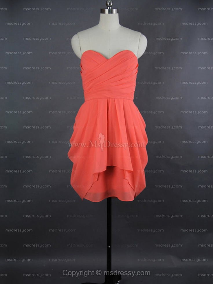sheath/column sweetheart short/mini chiffon prom dress with pleating