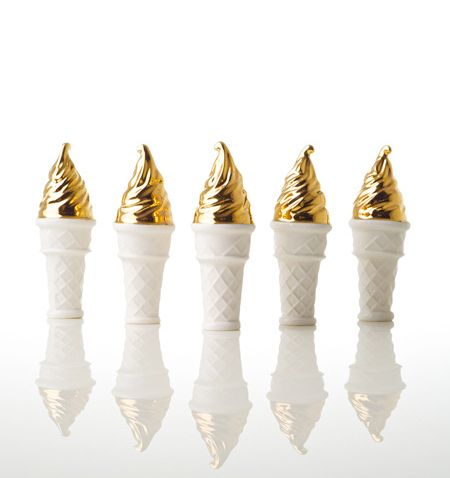 Gold dipped ice cream cones.