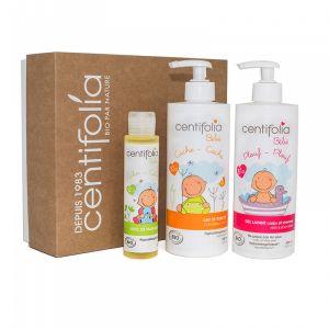 Setul curatare si hidratare bebelusi contine: gel de dus si sampon, lapte de corp, ulei masaj. Magazin cu produse cosmetice bio Centifolia si miere Manuka.