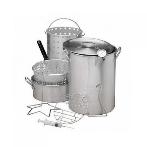 30 QT Deep Turkey Fryer Pot Kit Wings Fish Baskets Outdoor Propane Stockpot NEW #OutdoorGourmet