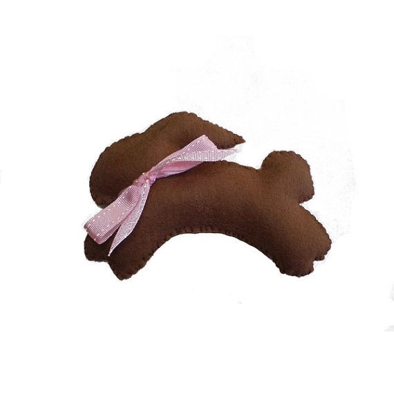 Chocolate Felt Bunny Rabbit Plushie Soft Toy by MissTreeCreations, $10.00